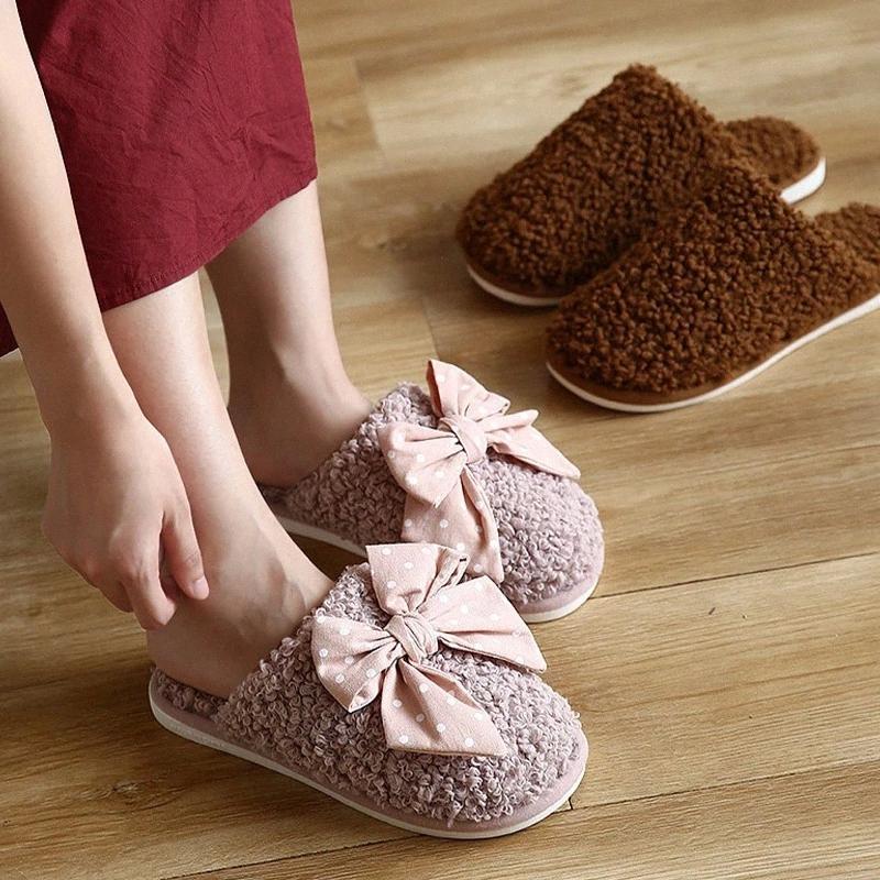 Kadınlar Kış Çift Terlik Bayanlar Kelebek Düğüm Katı Kuzu Yün Terlik Şeker Renk Sevimli Kapalı Rahat Yumuşak Rahat Ayakkabılar # SC2G