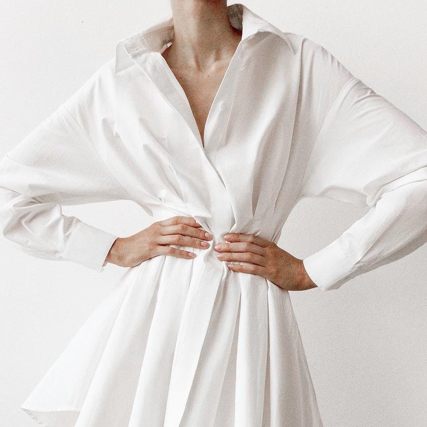 Neue 2021 Sexy Frühling Hemd Stil Langarm Down Weibliche Kragen Mini von hoher Taille Baumwolle in Leinen 9AZV