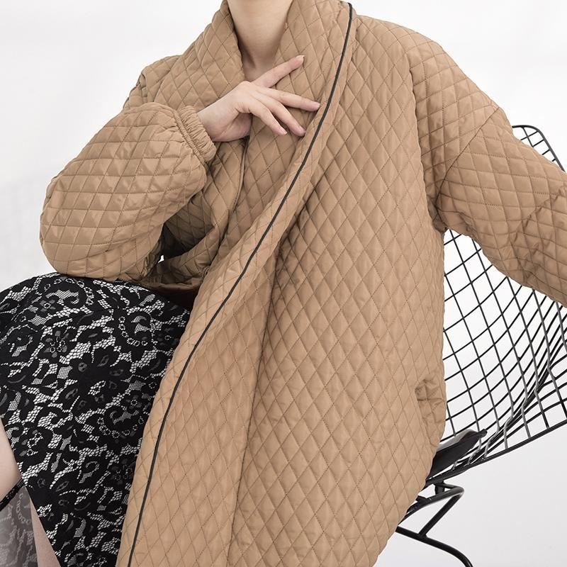 Lanmrem Famale осень зима длинное пальто спина много кнопок Свободная мода с длинным рукавом хлопчатобумажная куртка новые женщины Parkas WTH120 201022