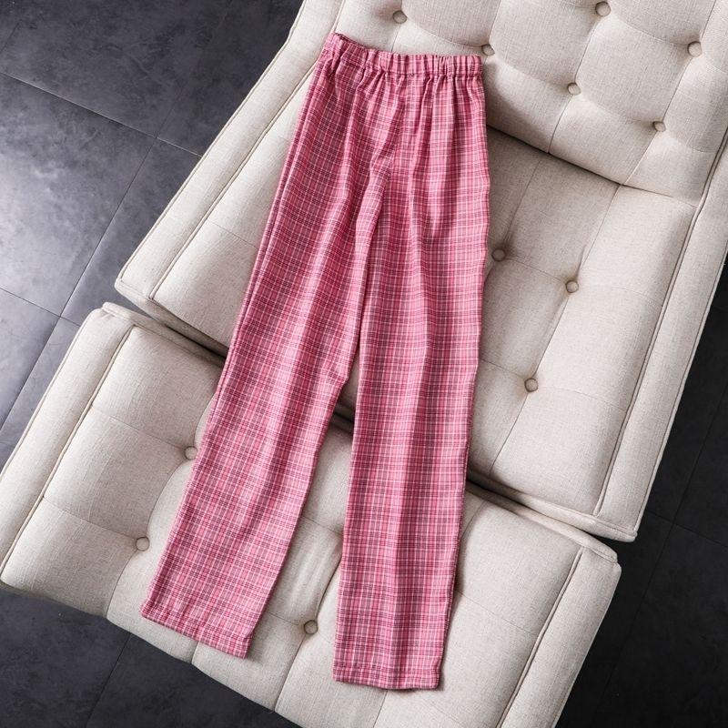 Magras meninas vintage manta retas calças moda elegante elegante macio alta cintura calças streetwear fêmea calças mulheres chic 201109