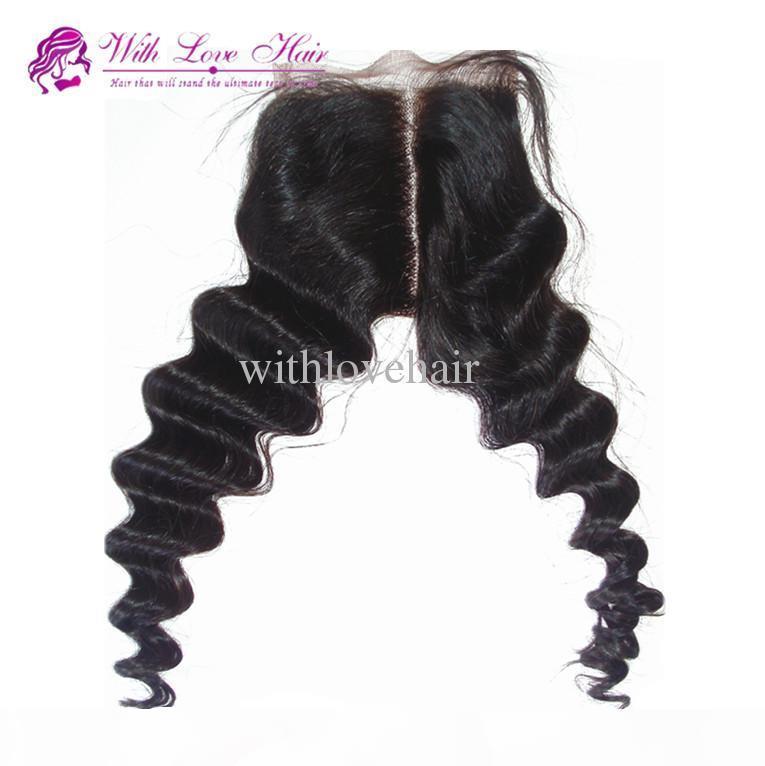 Schönheit 4 * 4-Zoll-mittlerer Teil-Spitze-Top-Schließungen Brasilianisches Haar, 100% Jungfrau-Haar-tiefe Welle Freies Verschiffen