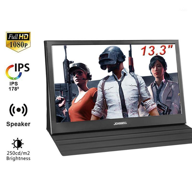 """Johnwill 13.3"""" Monitor 1080P HD LCD Portable Monitors IPS Screen PC Build-in Speakers Raspberry Portables Screen1"""