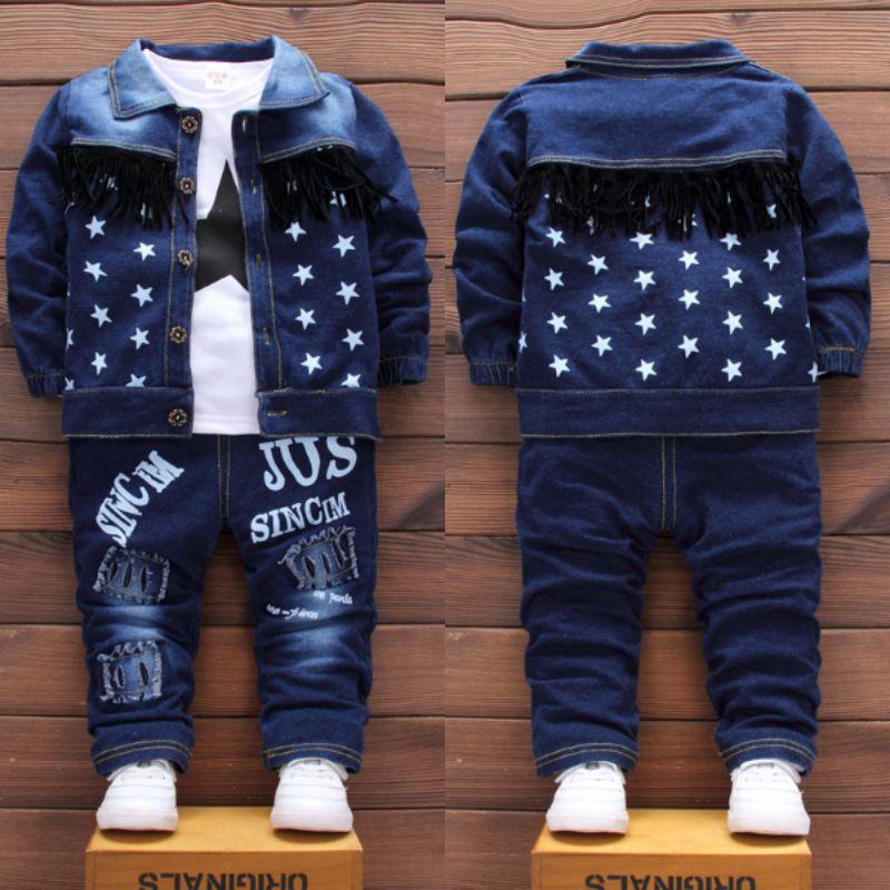 Autumn Children Baby Boys Clothes Fashion Denim Jacket Top Pants 3Pcs/sets Infant Kids Casual Clothing Winter Toddler Tracksuits LJ200831