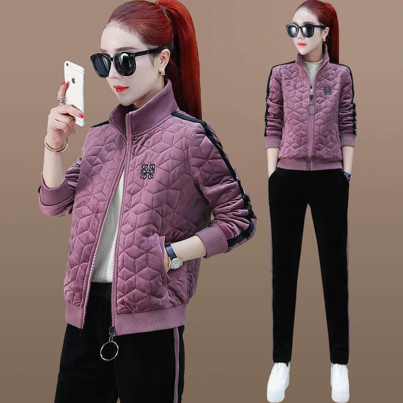 Abito sportivo Peluche Autunno e inverno Autunno e Inverno 2020 New Fashion Assessuale Maglione Stile Estero Abbigliamento casual Abbigliamento da due pezzi