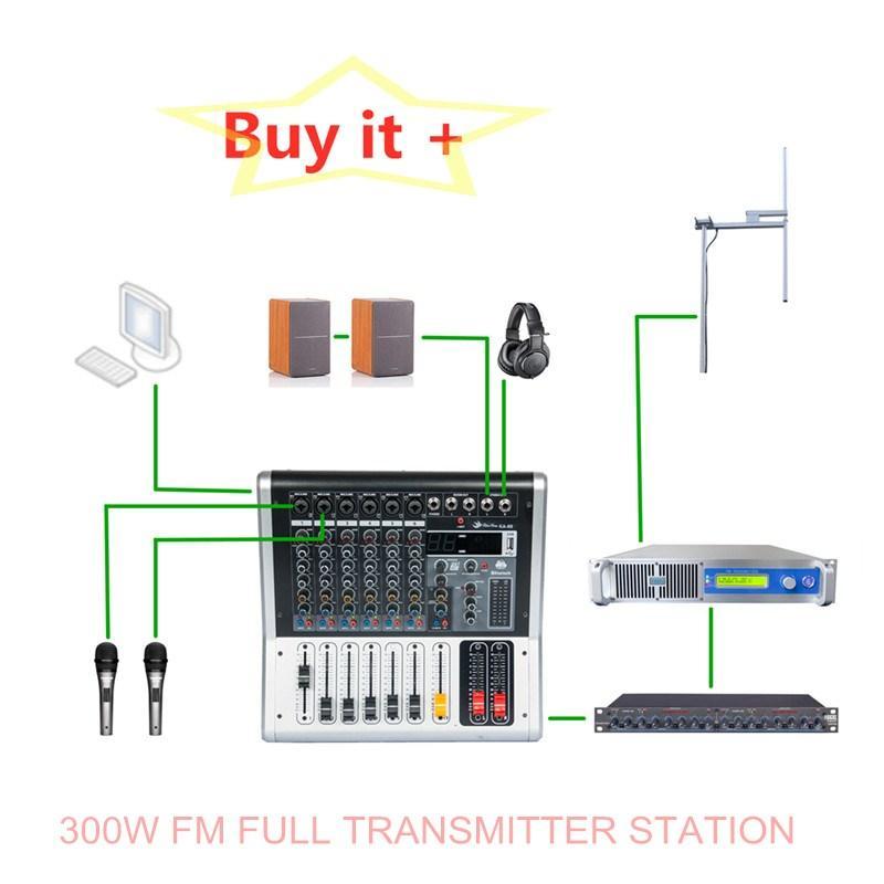 Garantie 6 Jahr 87.5-108MHz 300W Wireless Smart FM Sender Volle Box für Radio Broadcast Professionelle Geräte mit Freeshipping