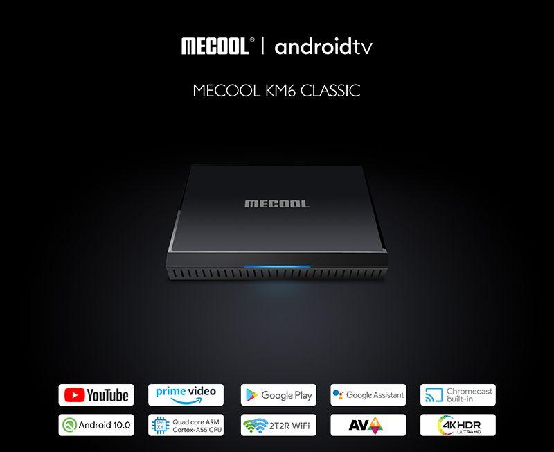 MeCool KM6 الكلاسيكية AndroidTV 10.0 Amlogic S905x4 2 جيجابايت 16 جيجابايت 2.4 جرام 5G WIFI WIFI WISTVINE L1 جوجل معتمد صوتي مجموعة أعلى مربع