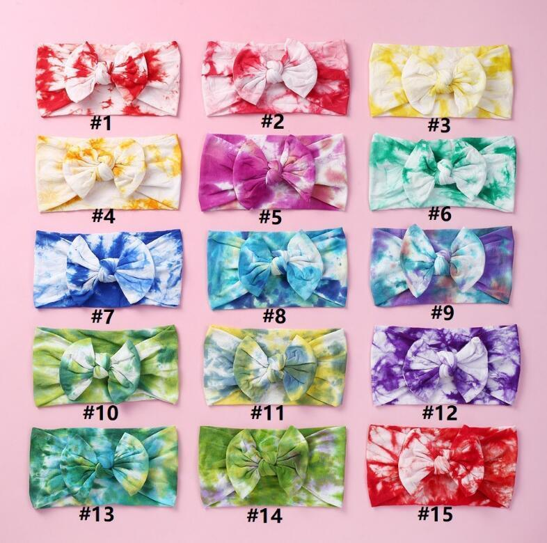 Niños Bow Tie Dye Headbands Impreso Girls Bowknot Hairbands Soft Nylon Elástico Bebé Pelo Pelo Diadema Cabello Kids Accesorios GGE2085