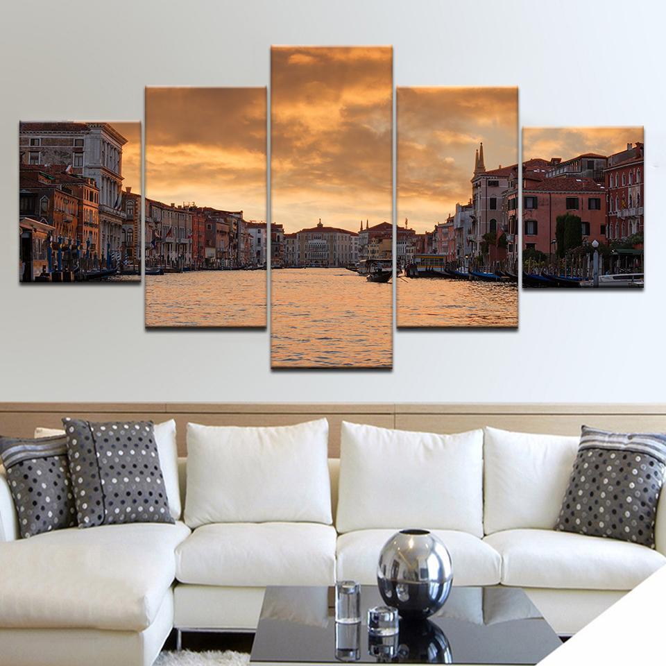 Tuval Sanat Duvar Resmi Ev Dekorasyon Salon 5 Panel İtalya Su Şehri Venedik Sunset Tuval Modern Yağ Modern Resim Sergisi Boyama yazdır