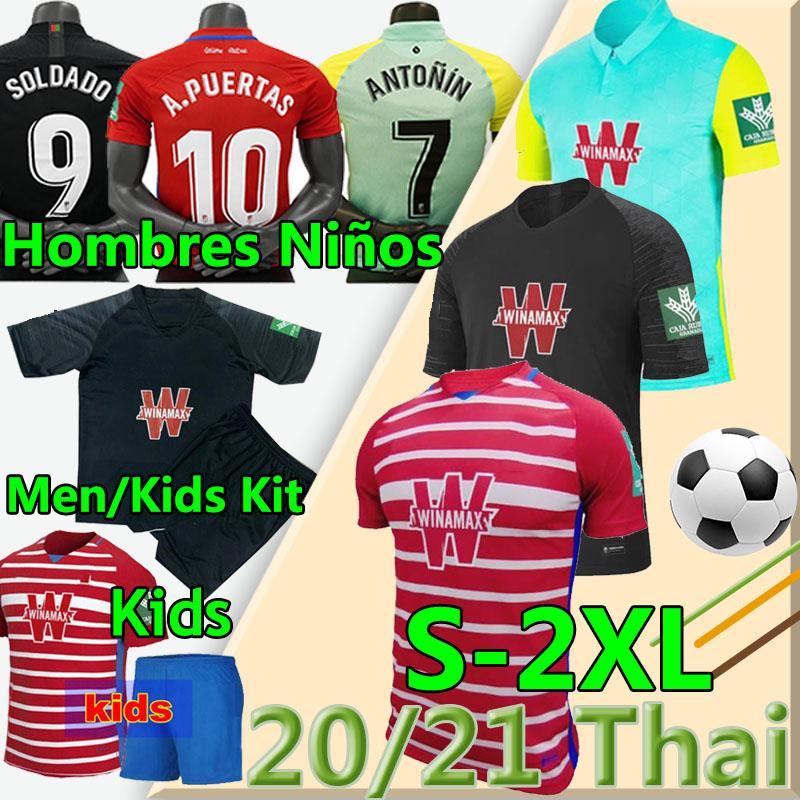 20 21 غرناطة CF كرة القدم الفانيلة Soldado Vadillo F.Vico A.Puertas Victordiaz 2020 2021 قميص كرة القدم Hombres Niños الرجال أطقم موحدة