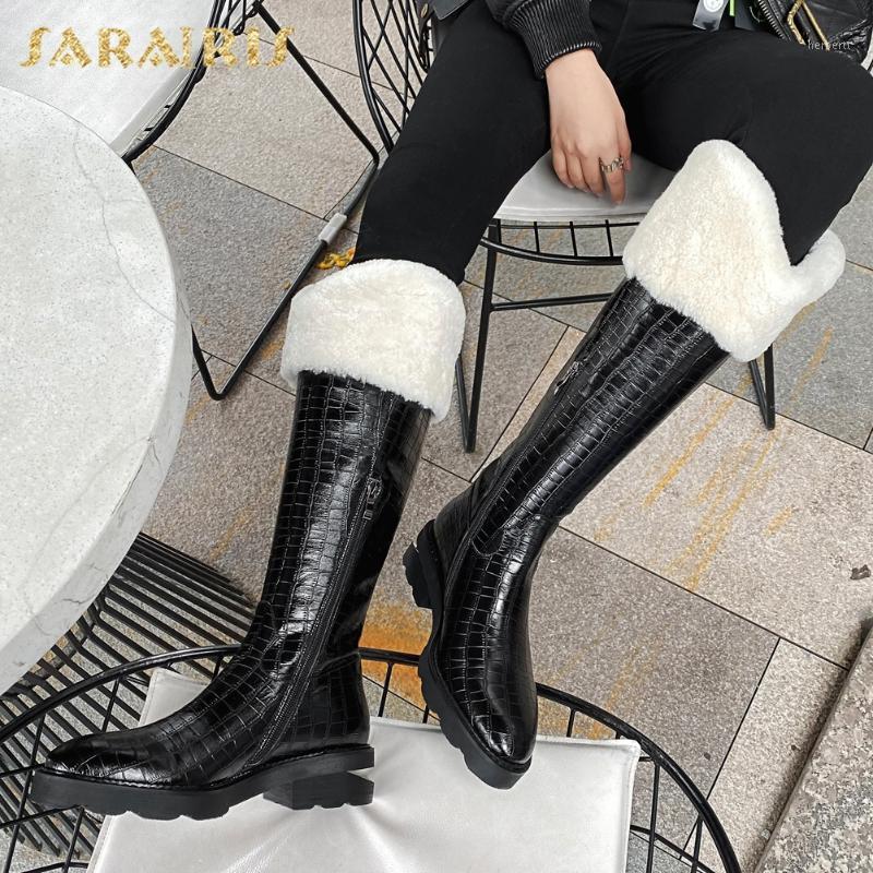 Sarairis 2021 Brand New Top Quality Neve Inverno Quente Sapatos Genuíno Vaca Couro Baixo Calém Joelho Alto Boot Boot Mulheres Sapatos1