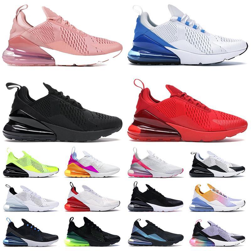احذية الجري max 270 airmax 270s أحذية 27c حذاء رياضي رجالي نسائي ثلاثي أسود أبيض صور أزرق وردي  وردي بالكاد حذاء رياضي للرجال والنساء