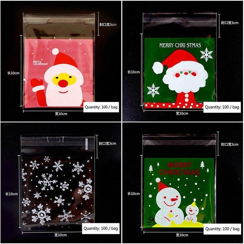 100шт / комплект Упаковка подарков мешок Пластиковые Булочки Упаковка для выпечки хлеба Поставки Снежинка конфеты печенье пакет Рождество Декор hKM8 #