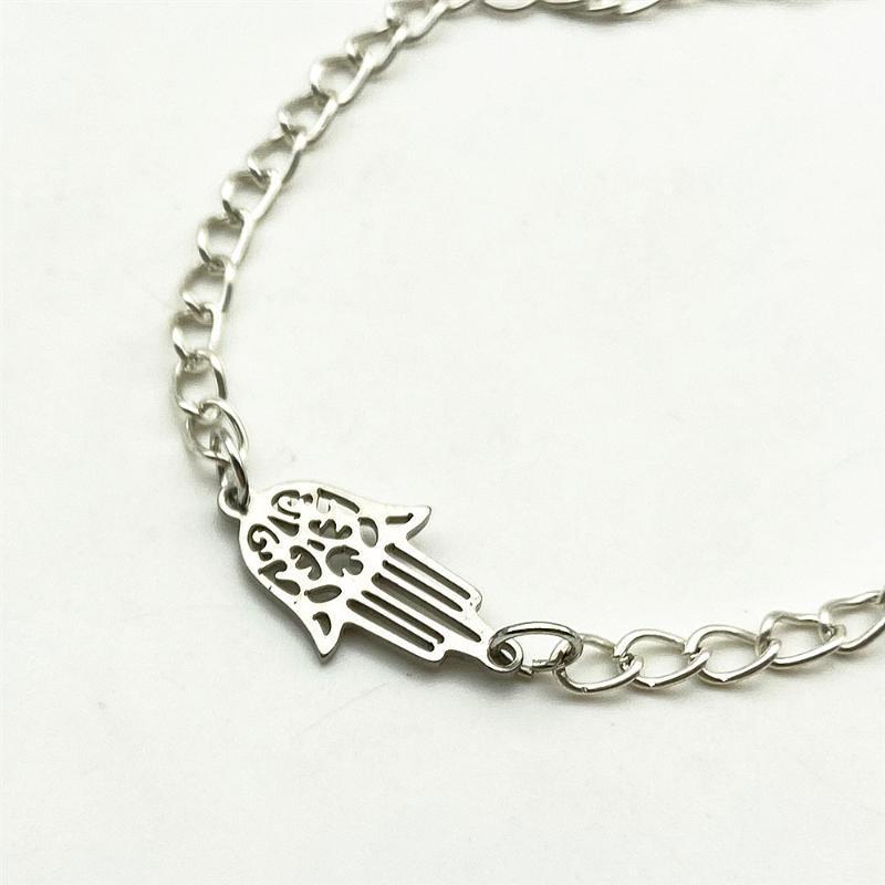 Minúsculo hamsa mão pulseira à prova de oxidável 100% aço inoxidável pés bebê pés tornozelo bracelete decorçado colar diy jóias descobertas fazendo