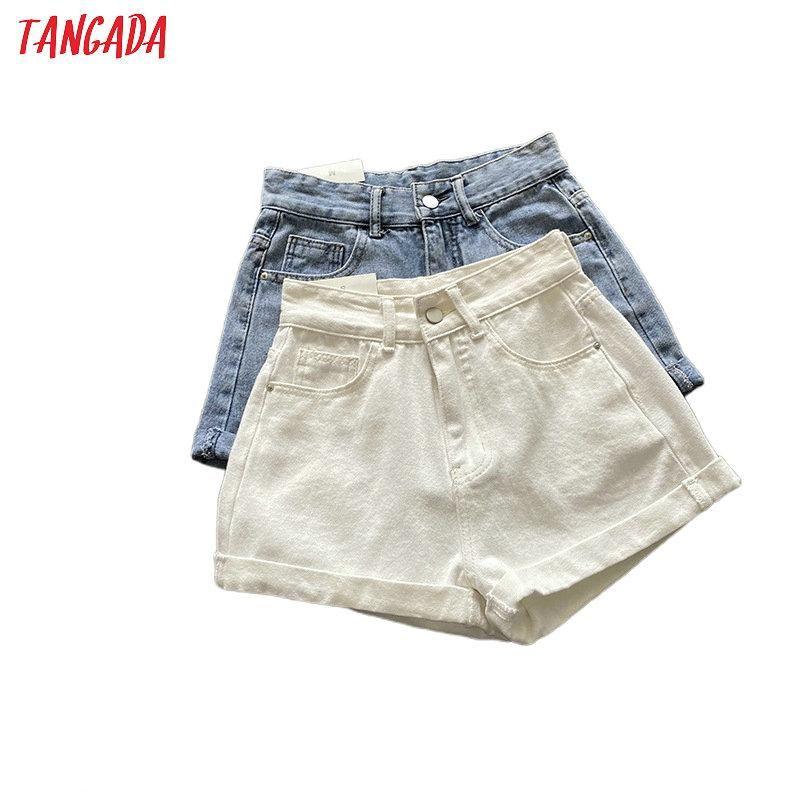 Tangada Donne Elegante Elegante Summer Denim Denim Pantaloncini Bull Tasche Donna Retro Retro Basic Casual Jeans Jeans Pantaloni Pantalones ASF57