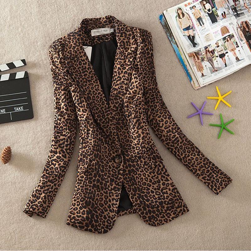 2020 Automne Nouveau Leopard Petite Veste de costume femme coréenne Version Longue Section Mode Slim One Button Blazer manches longues femmes