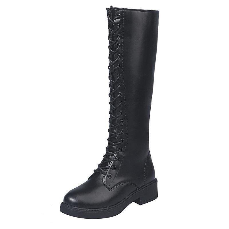Boots Rimocy мода женские черные молнии шнурки длинные 2021 осень зима теплый колено высокий женский крест ремешок PU кожаный ботас