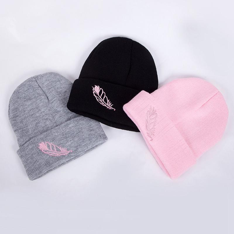 Hot Sale Warm Snow New Women Knitted Knit Hat Beanies High Quality Crochet Beanie 1PC Girl Winter Feather Embroidery Hats
