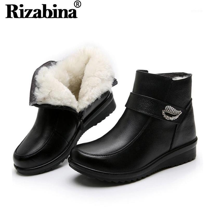Rizabina hiver Bottines Bottines en cuir véritable hiver en peluche fourrure chaude coton chaussures femmes zipper bottes courtes chaussures maman chaussures taille 35-411