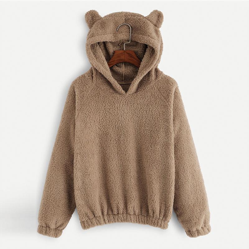 okkdey 2020 Orejas otoño invierno mujeres de la camiseta del oso encantador color sólido Fleece hoodies ocasionales de Kawaii felpa Calentar la camiseta de las mujeres