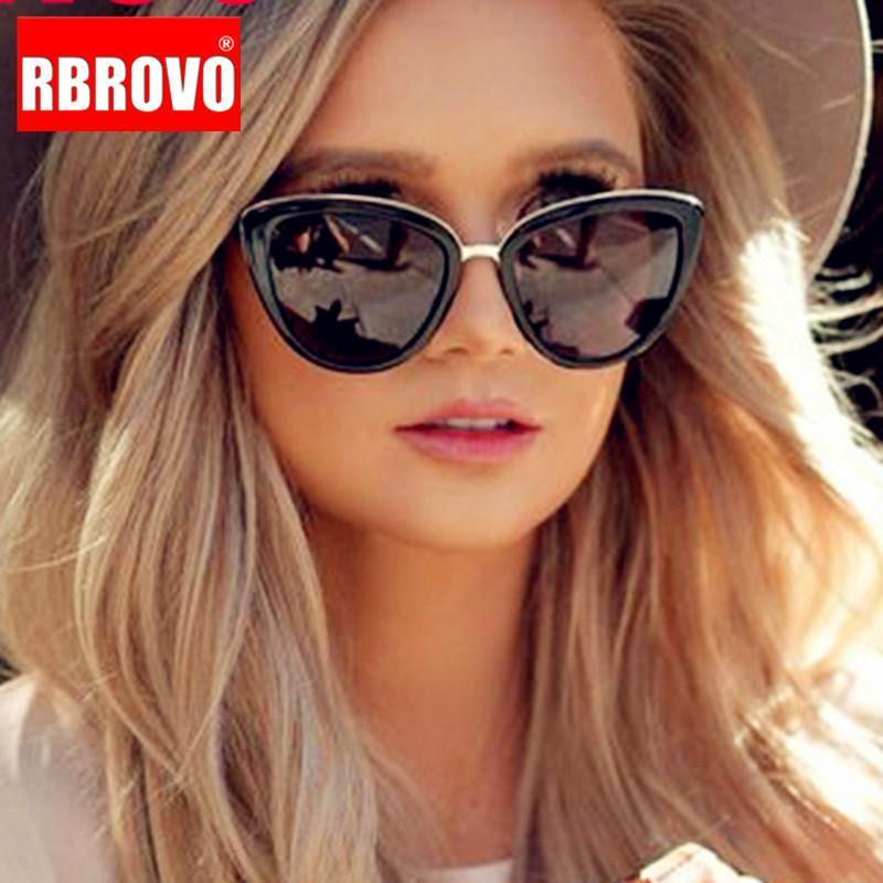 Luxe Rbrovo 2020 surdimensionné Nouvelles Femmes Femmes Verres rétro pour la marque Feminino Cateye Sunglasses Sunglasses Sbgll