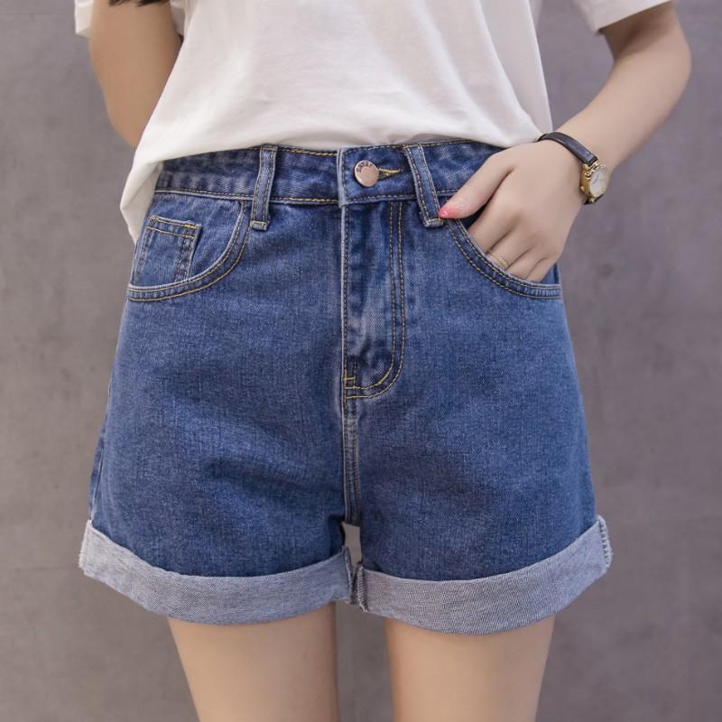 Arricciati denim pantaloncini estivi brevi jeans delle donne 2020 Pantalone corto Nuova vita alta Donna Summer Fashion design gamba larga Jean Taglie