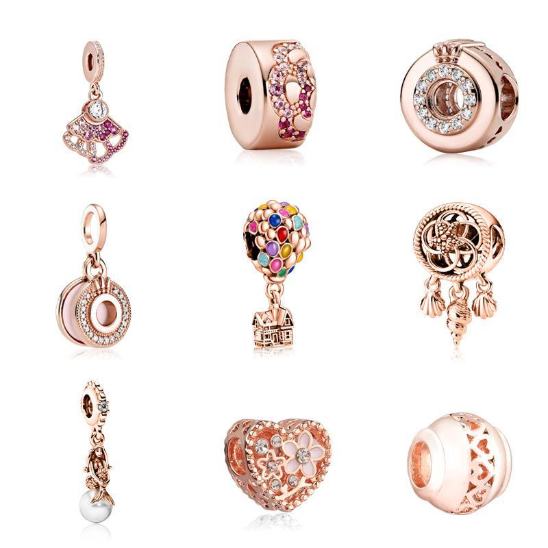 Розовый золотой сплав свободных бусин для изготовления суда и браслет сердца клык горячий баллон шаблон DIY ювелирные изделия