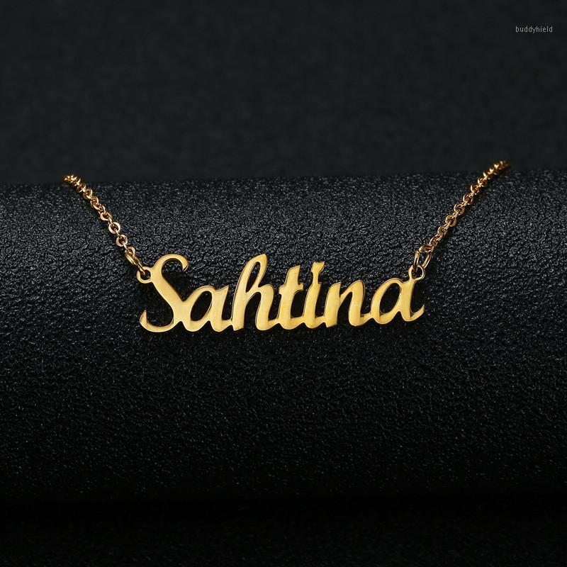 Anhänger Halsketten Gold Silber Farbe Personalisierte benutzerdefinierte Name Halskette Kundenspezifische Kursive Namensschild Frauen Handgemachte Geburtstagsgeschenk1