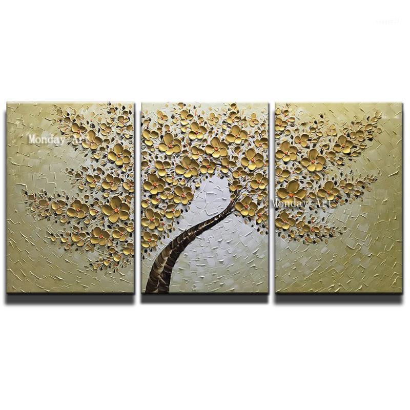 Cuchillo pintado a mano Pintura al óleo de flores de oro pintura de la paleta de la lona para la sala de estar Moderno Flor Tree Imagen Wall Art Pictures1