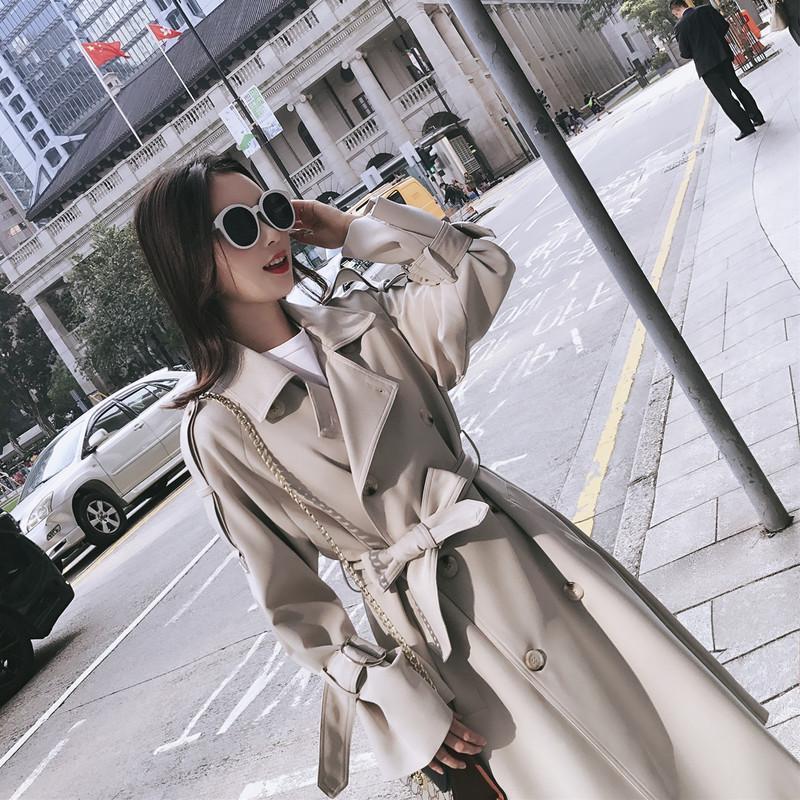 Damskie płaszcze Trench Kobiety Ubrania Szary Wiatrówka Kobieta Długa Sekcja Koreańska Wiosna Luźna BF Talii Temperament Garnitur Lapel Collar Jacket