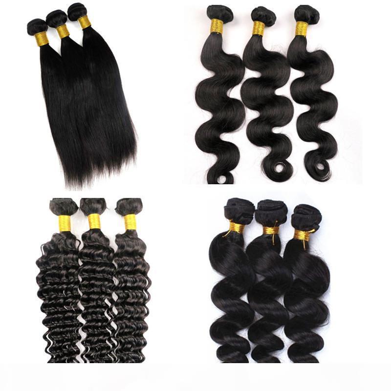 MICK Virgin Extension Extensions Человеческие пакеты волос Wefts 8-34 дюймов необработанные бразильские перуанские индийские монгольские девственницы REMY