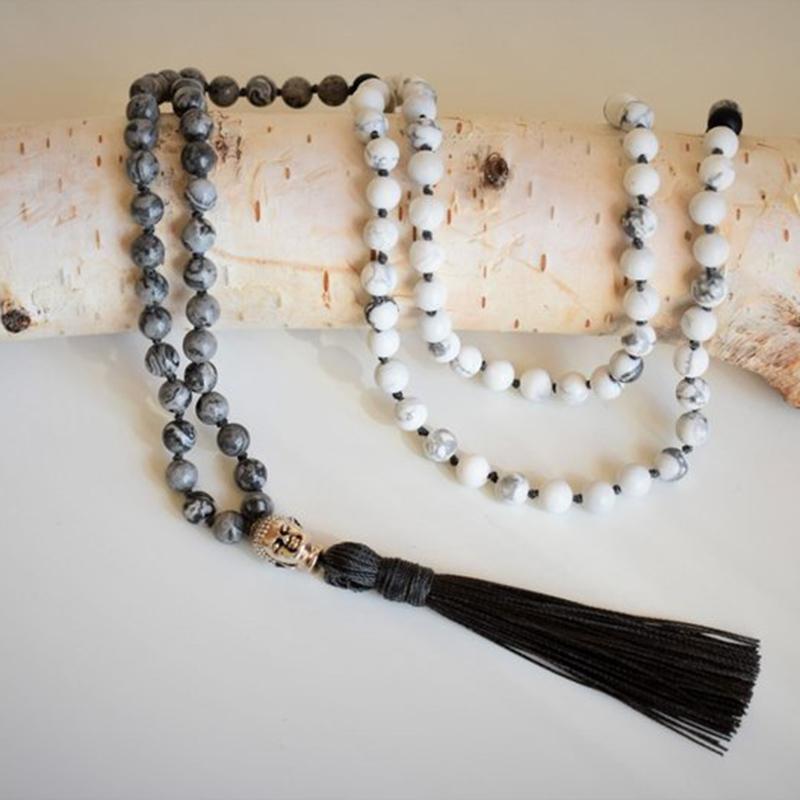 Mala Salkım 108 Düğümlü Beyaz Hovlit Mat Siyah Oniks Kolye Mens Bohemian Püskül kolye Buda Takı Hediye İçin Erkekler