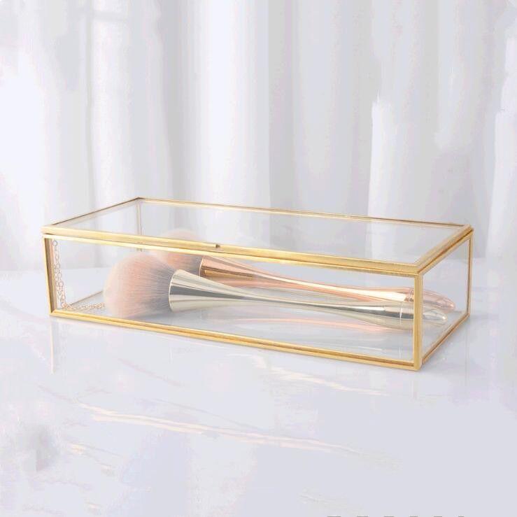 Schmuckschatullen Einfache Gilts Glas Gift Box Sammelbox Retro-Schmuck Anzeige Dekoration Boxen Make-up Schreibtisch Finishing Storage Box GWA1863