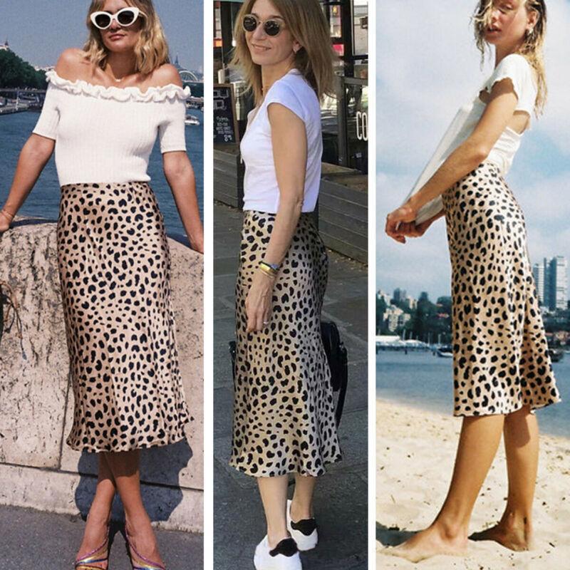 Женщины леопардовый Повседневный Длинный вечер коктейль платье мини-юбки