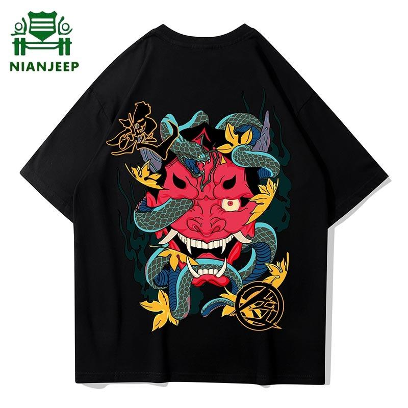 Hip Hop démon imprimé T-shirt des hommes Harajuku Streetwear en vrac des hommes T-shirt Coton Tendance à manches courtes T-shirts Homme Camisetas