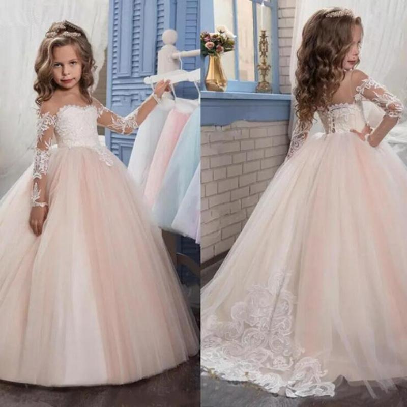 New 2021 Flower Girls Dresses Lace Top Spaghetti Formal Kids Wear For Party Free Shipping Toddler Gowns
