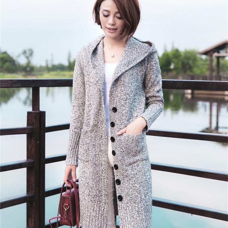 2021 Новый густой теплый с длинным рукавом кардиган женщины верхняя одежда с капюшоном топы тянуть перемычку с карманной кнопкой вязаный свитер UALG