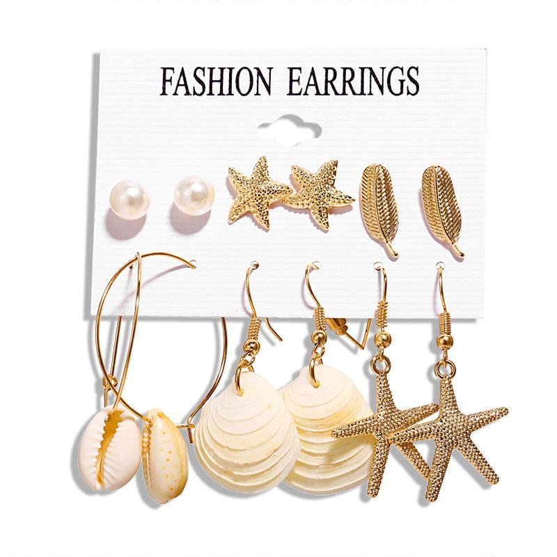 Mode Cowrie Conch Shell Drop Ohrringe Set gemischte geometrische Seestern Ohrringe für Frauen Ocean Beach Schmuck Pendientes Brincos