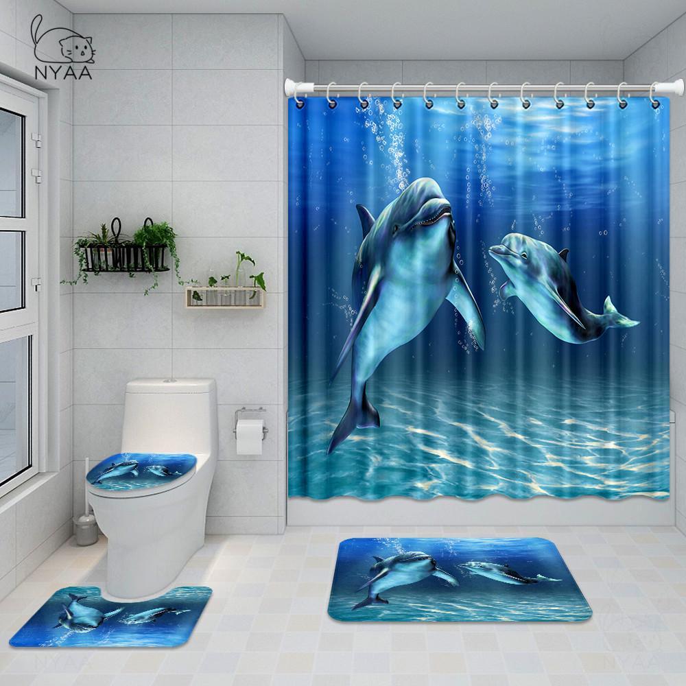 Nyaa Dolphin Deep Sea in poliestere impermeabile tenda della doccia bagno con 12 ganci piedistallo Rug coperchio del WC coperchio Bagno Mat Set X1018