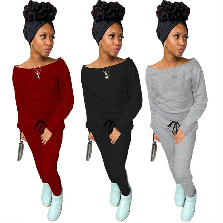 Casual Eşofman Kadın Kıyafetler 2 Parça Setleri Uzun Kollu Jogger Takım Elbise Güz Kış Giysileri Düz Renk Sweative Tops Pantolon Spor Takımları 4363