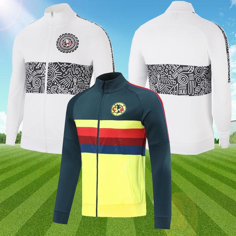2021 Liga MX Club America White Jacket Soccer Jerseys G.Ochoa 20 21 التدريب الأصفر دعوى Survetement كرة القدم الركض سترة الرجال الزي الرسمي
