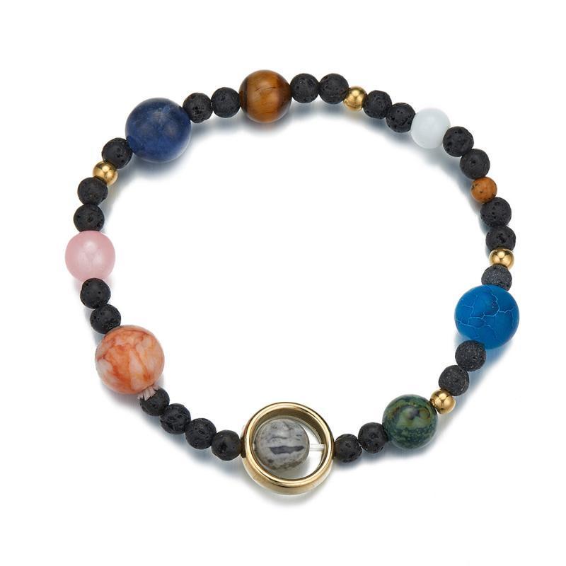 Universo popolare, galassia, sistema solare, otto pianeti, gioielli bracciali elastici perline in pietra naturale per donne e uomini