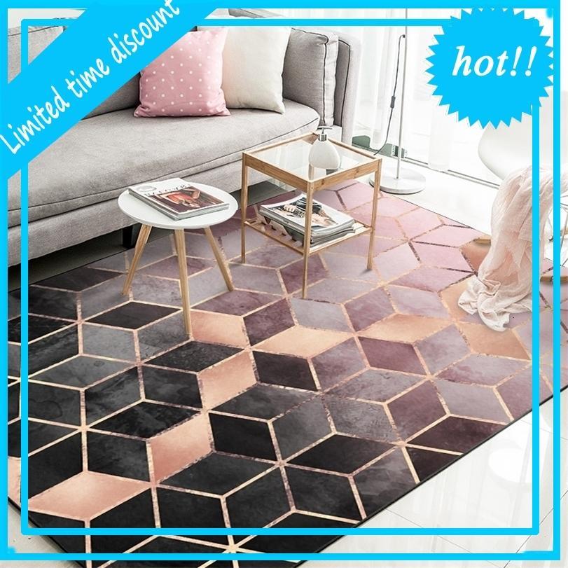 İskandinav Modern Minimalist Geometrik Desen Halı Oturma Sehpa Yatak Odası Zemin Halısı Çocuk Odası Sürünen Mat