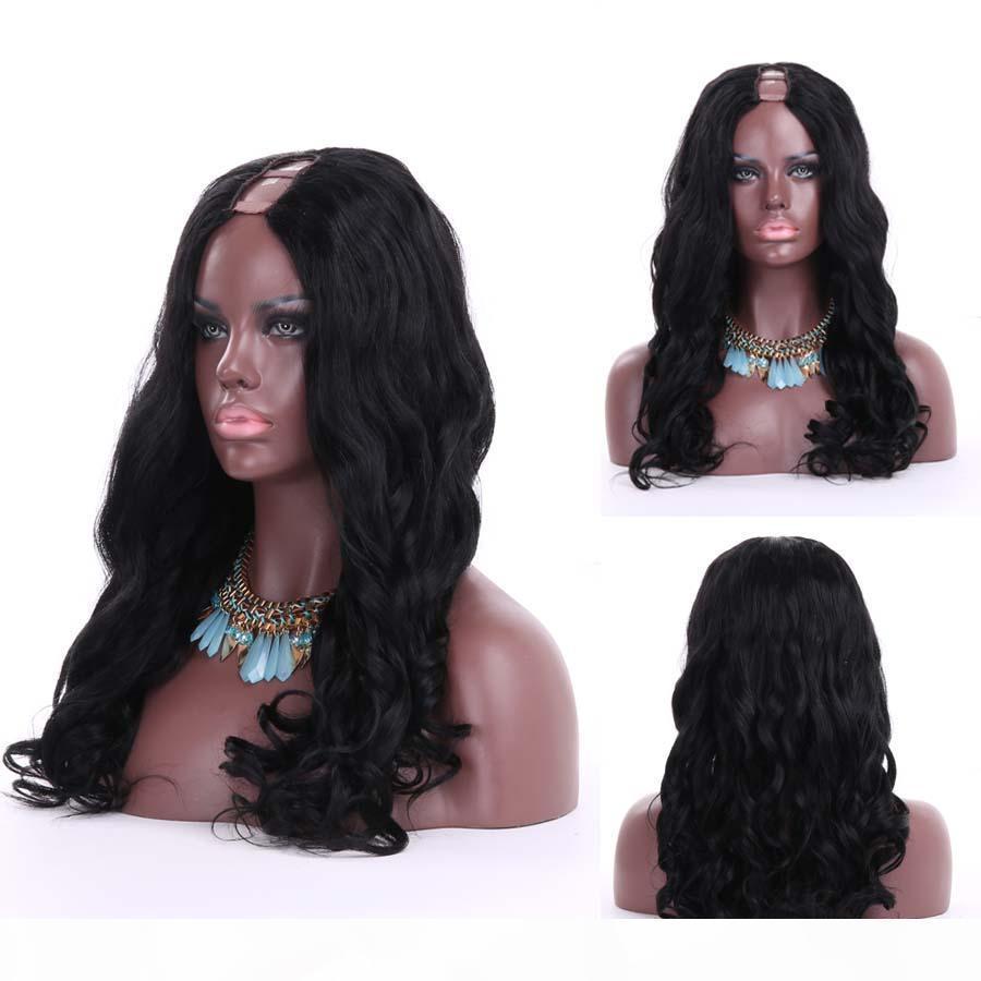 شعر الإنسان شعر مستعار U جزء Yaki U جزء شعر مستعار موجة الجسم البرازيلي العذراء ريمي الشعر مسار الباروكات للنساء السود فضفاضة