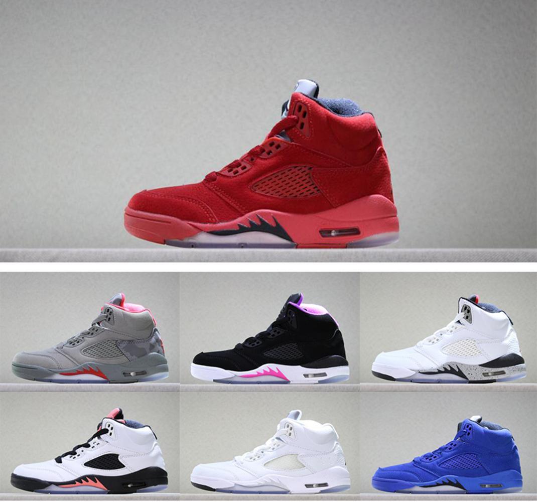 Bambini della scarpa da tennis 5 V Sneaker Camo Deadly Rosa lupo grigio sole blush rosso camoscio blu scuro stucco bianco di pallacanestro pattini dei bambini delle ragazze del ragazzo scarpe