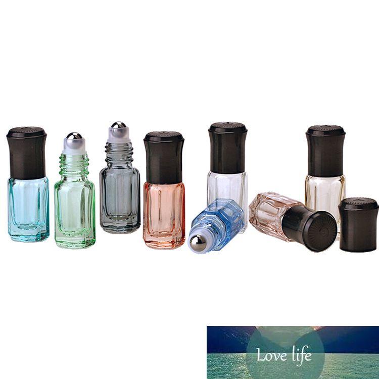 20pcs / lot 3 ml Vider Mini verre Rollon Bouteilles pour les huiles essentielles bouteille de parfum rechargeable Déodorant conteneurs avec couvercle noir