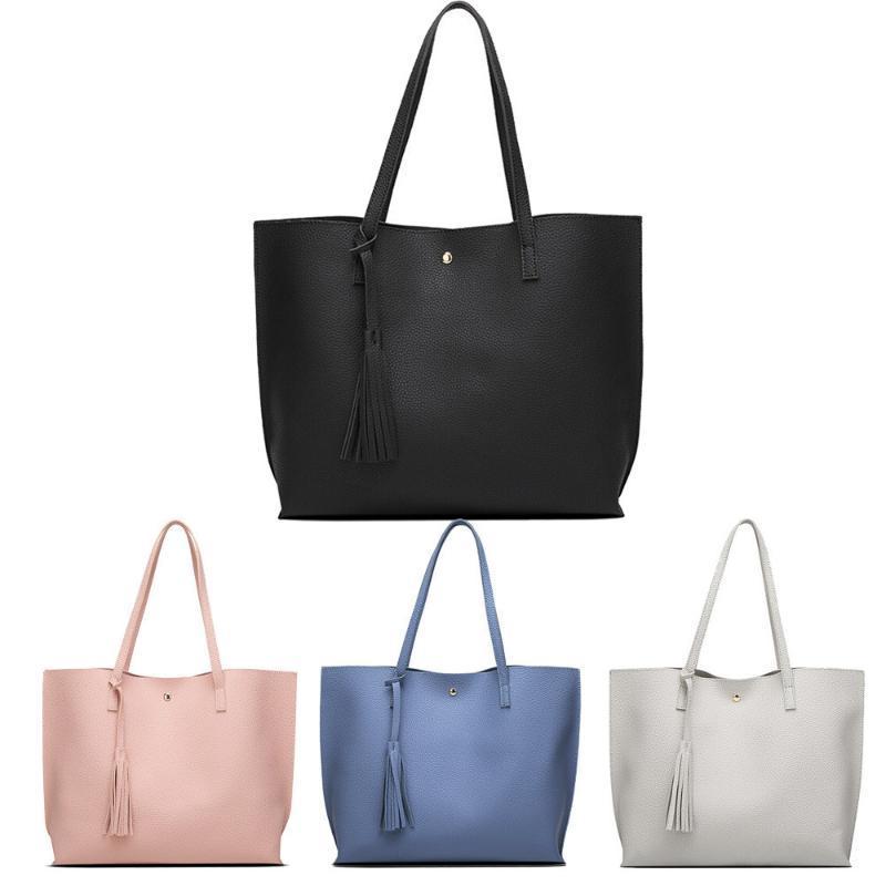 Laamei Женская сумка Pure Color Tassels Большая емкость Сумка на плечо Женская Торговая сумка Плеча Сумка SAC Главная Femme