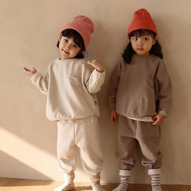 INS Autumn Korean Girls Clothing Sets Long Sleeve for Children Sports Suits Boys Round Neck Pure Color Cotton Casual