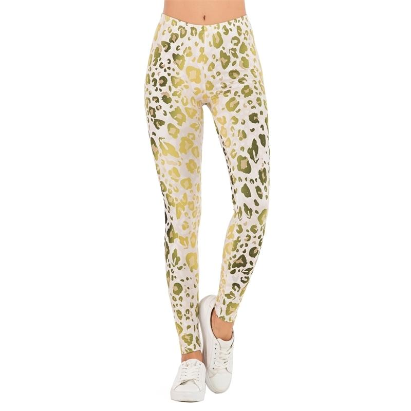 Marcas Moda Moda Legging Gold Fluorescência Leopardo Impressão Ombre Leggins Slim Legins Cintura Alta Cintura Leggings Mulher Calças Y200904