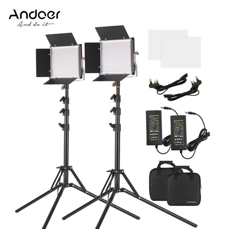 Andoer 3200-5600k 2 Pcs LED Luz de Vídeo 78,7 polegadas Iluminação Stands Kit Regulável Bi-color Luz Painel Para Photography Studio
