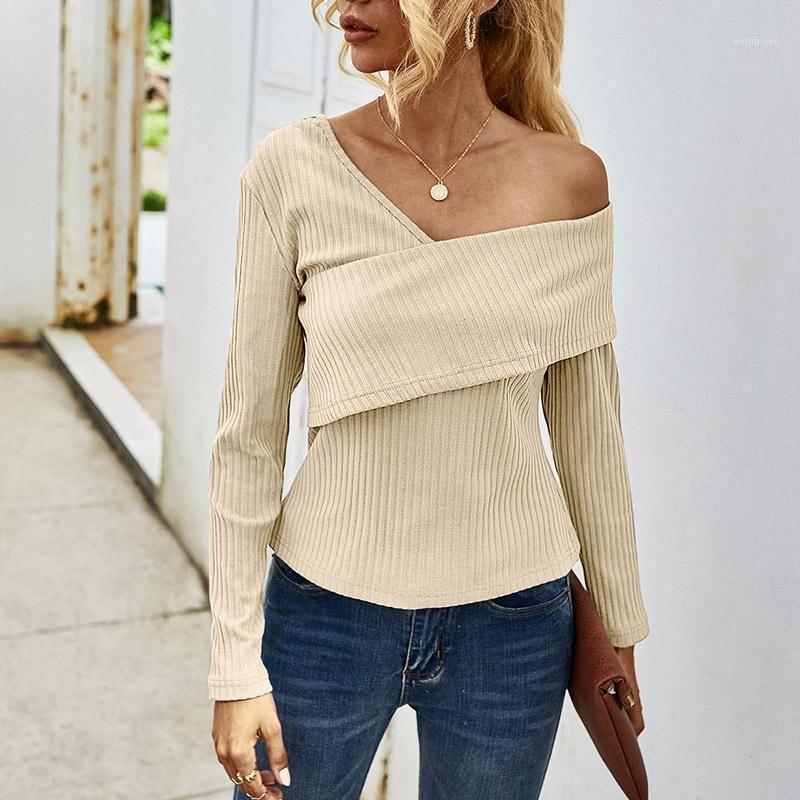 Осень с плечом вязаные женские свитер с длинным рукавом V-образным вырезом женские пуловеры с твердым простым улицей повседневная стройная леди Одикация1